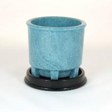 Graniver cactus pot blauw met zwarte onderschotel door A.D. Copier