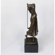Bronzen sculptuur van golfende dame - Art Nouveau