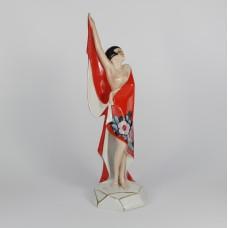 Beeldje dame in rood ART DECO, ca 1925