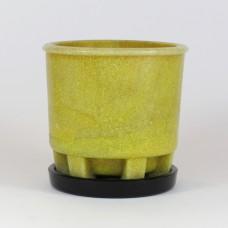 Copier cactus pot geel met niet-originele onderschotel