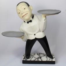 Gips beeld van ober met twee schaaltjes
