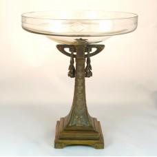 Art Deco Centerpiece, koperen voet met glazen schaal
