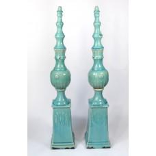 Set van 2 grote hoge pilaren / zuilen, turquiose